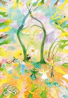0braz kreslený pastelkami: Bál v jarním háji
