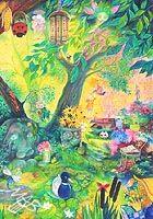 0braz kreslený pastelkami: Hravá zahrada