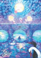 Obraz nakreslený pastelkami: Měsíc nad řekou
