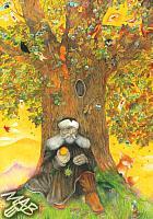 Obraz, pastelková technika: Žižkův dub