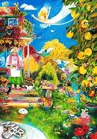Obraz nakreslený pastelkami: Babiččina zahrádka