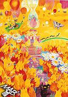 Obraz, pastelky na papíře: Království květin