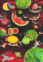 Kresba pastelkou: Melounová planeta