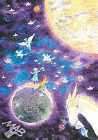 Obraz nakreslený pastelkami: Moře ticha
