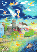 Barevné pastelky, obraz: Toulky s bílou paní