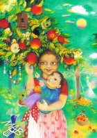 0braz kreslený pastelkami: Maminka jablůňka