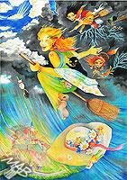 0braz kreslený pastelkami: Čarodějky letní bouřky