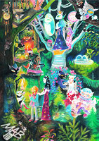0braz kreslený pastelkami: Kočičí palác