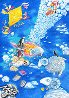 0braz kreslený pastelkami: Pastýř oblaků