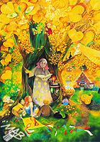 0braz kreslený pastelkami: Pohádková babička