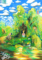0braz kreslený pastelkami: Vrba vlídná zpovědnice